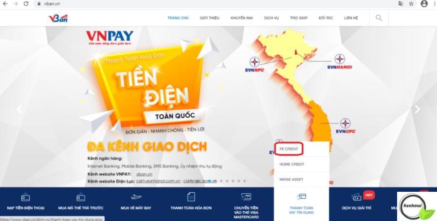 Thanh toán hợp đồng khoản vay FE Cedit qua VNPay